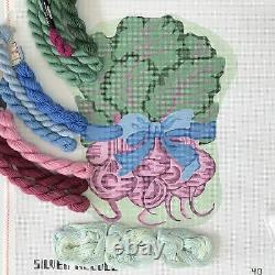 Hand painted Needlepoint canvas Bunch of Beets with ribbon Silver Needle garden