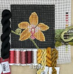 Hand painted needlepoint canvas kit Orchid with silk threads one of a kind