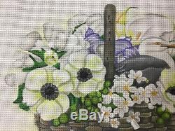 HandPainted NeedlePoint Canvas Seagull Basket By Melissa Shirley On 18 Count