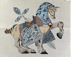 Handpainted Needlepoint Canvas Asian Horse, Wall Hanging or Rug, 13 Ct