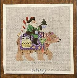 Handpainted Needlepoint Canvas Christmas Santa And Bear By Brenda Stofft