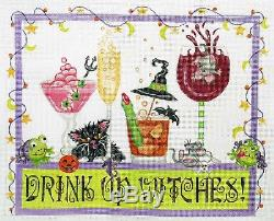 Handpainted Needlepoint Canvas Drink Up Witches, 11 X 8.5 on 18ct