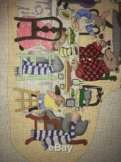 Handpainted Needlepoint Canvas Feast Stocking by S. Roberts/B. Eyre Christmas