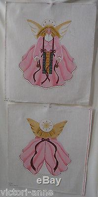 Handpainted Needlepoint Canvas Melissa Shirley Angel Tree Topper 2 Sided 154-A