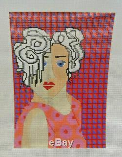 Handpainted Needlepoint Canvas Penny MacLeod Bea in Pink Girl PM-628