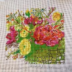 Handpainted Needlepoint Canvas Red Yellow Flowers by Peas of Mind contemporary