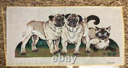 Handpainted Needlepoint Canvas Two Pug Dogs And A Siamese Cat By K Molineux