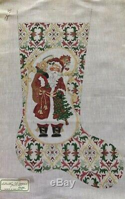 Handpainted Needlepoint Christmas Stocking By Strictly Christmas 18 Ct