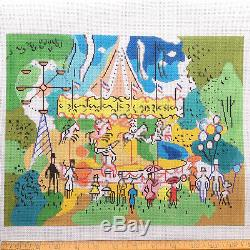 Handpainted Needlepoint canvas Paris Carousel with threads Sally Corey Designs