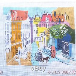 Handpainted Needlepoint canvas Paris Street scene with thread kit Sally Corey