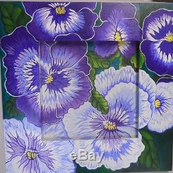 Handpainted needlepoint canvas and handpainted frame Pansies purple Robbyns Nest