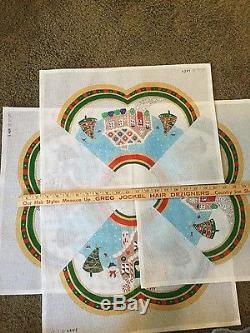 Handpainted needlepoint canvas by Julie Mar Tree skirt