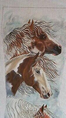 Horse Trio in Snow Hand Painted Needlepoint Stocking Canvas Liz Dillon S Roberts