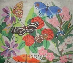Huge Gorgeous Botanical Butterfly Tote Bag Hand Painted Needlepoint Canvas GGJ