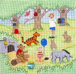 Hundred Acre Wood Winnie the Pooh handpainted Needlepoint Canvas Silver Needle
