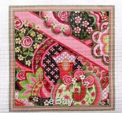 J. Gaynor / S. Roberts Rose Paisley Floral Pillow Handpainted Needlepoint Canvas