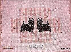 JG Dog Door Stop Brick Cover Paws & Stripes HP Handpainted Needlepoint Canvas