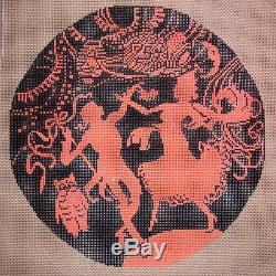 JG Squiggee Halloween Dance Party Silhouette HP Handpainted Needlepoint Canvas