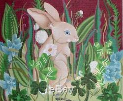 JG dede Woodland Rabbit TWO Hand Painted HP Needlepoint Canvases Set