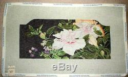 JJG Floral on Black Clutch Purse Front HP Handpainted Needlepoint Canvas