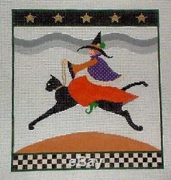 JJG Pippa Witch Riding Black Cat Handpainted Needlepoint Canvas & Stitch Guide