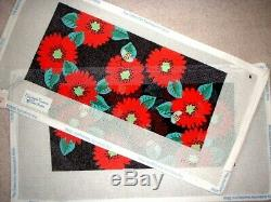 JJG Red Floral Clutch Purse Front & Back HP Handpainted Needlepoint Canvas