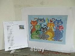 JP Needlepoint CATITUDES Handpainted Needlepoint Canvas 18 ct with Stitch Guide