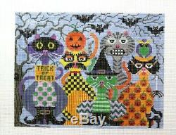 JP Needlepoint Colorful Halloween Cats Handpainted Needlepoint Canvas