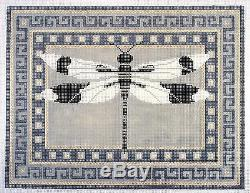 JP Needlepoint Oriental Dragonfly elegant handpainted Needlepoint Canvas 13 mesh