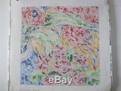 Jean Smith New Needlepoint Canvas Hand Painted Fantasy Floral Design 14x14