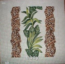 KW 104 Jungle Plants & Leopard Ropes HP Hand Painted Needlepoint Canvas