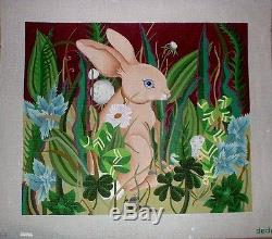 KW 1141 Dede Bunny Rabbit in Meadow HP Hand Painted Needlepoint Canvas