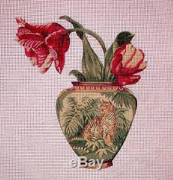 KW 140 Tulips in Tiger Vase Floral Flowers HP Hand Painted Needlepoint Canvas