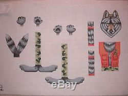KW 1406 Nikkie Wolf Skinny Leg Keepers 3D Animal Hand Painted Needlepoint Canvas