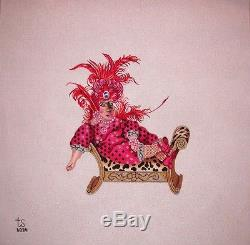 KW 6034 Hortense Hippo on Chaise Lounge HP Hand Painted Needlepoint Canvas