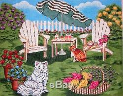 KW 6060 Backyard Cat Scene with Chairs HP Hand Painted Needlepoint Canvas