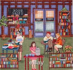 KW 6099 Interior of Bookstore HP Hand Painted Needlepoint Canvas