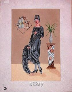 KW 6119 Lady in Black HP Hand Painted Needlepoint Canvas