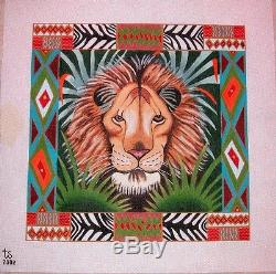 KW 7002 Jungle King Lion Animals by TS Designs Hand Painted Needlepoint Canvas