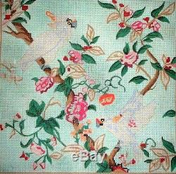KWC Cockateil Birds in Apple Blossoms HP Hand Painted Needlepoint Canvas