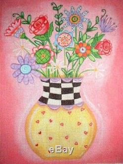 KWC Colorful Flower Bouquet Floral HP Hand Painted Needlepoint Canvas