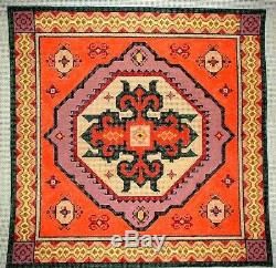 KWC Persian Geometric Pillow Top HP Hand Painted Needlepoint Canvas