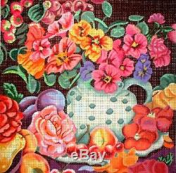 KWC Vase of Colorful Flowers HP Hand Painted Needlepoint Canvas