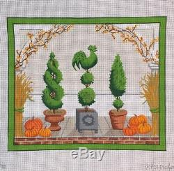 Kate Dickerson Hand painted Needlepoint Canvas American Front Porch Autumn Fall