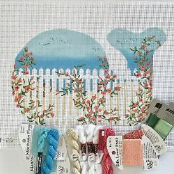 Kate Dickerson Hand painted Needlepoint Canvas Beach Whale Fence with Roses KIT
