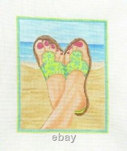 Kate Dickerson Sandals on the Beach Handpainted Needlepoint Canvas 446