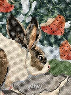 Kate MOLINEUX Handpainted NEEDLEPOINT Canvas 13 Ct RABBIT in STRAWBERRY PATCH