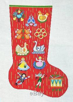 LEE Full Size 12 Days of Christmas Stocking handpainted Needlepoint Canvas 13m