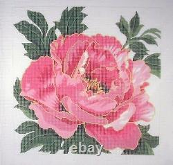 LEE Pink Peony Square Large handpainted Needlepoint Canvas Easy Stitch 12 mesh
