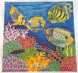 LEE Tropical Coral Reef & Fish handpainted Needlepoint Canvas 16 by 16 12 mesh